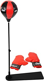 "Home-X Children's Punching Bag Set w/Stand, Kids' Freestanding Boxing Equipment, Adjustable Punching Bag- Black/Red- 27 ½""..."
