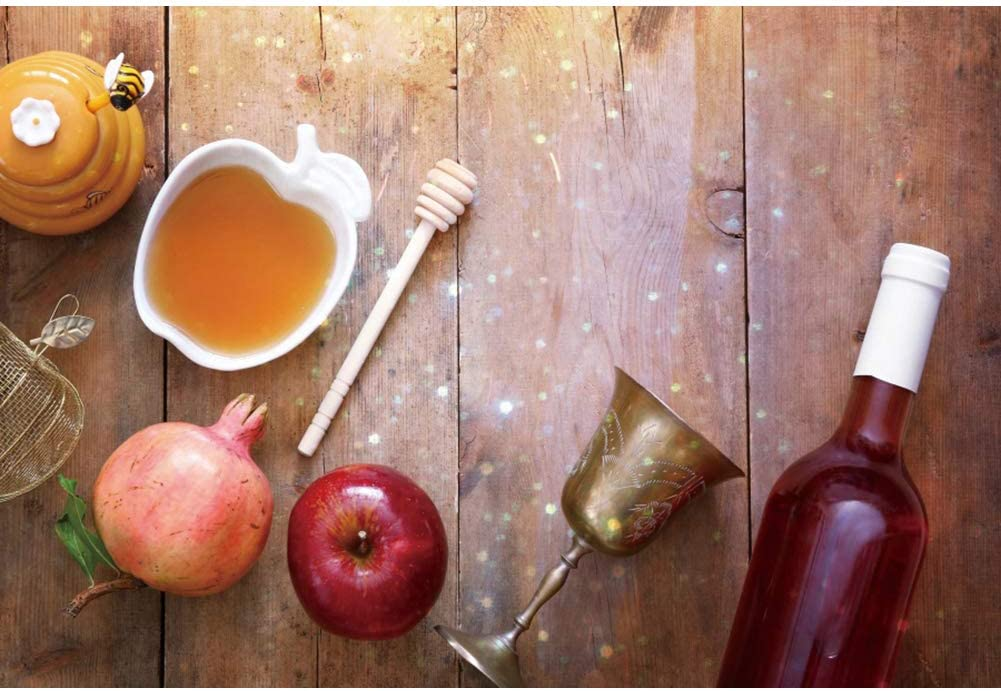 CSFOTO 7x5ft Happy Rosh Hashanah Backdrop Jewish New Year Party Background for Photography Feast of Trumpets Celebration Pomegranate Apple Honey Wine Wooden Board Jewish Holiday Photos Polyester