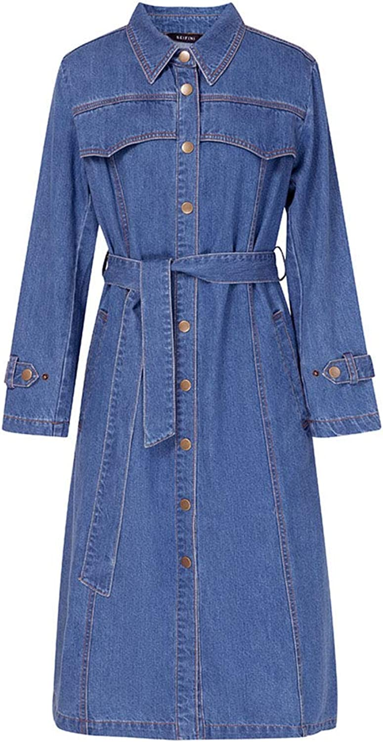 Trench Coat Women's Long Trench Coat Denim Dress Spring Long Sleeve Thin Jacket Denim Trench Coat 100% Cotton Gift (color   bluee, Size   XL)