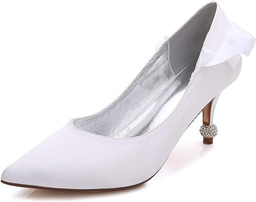 Eleboeb Femmes Chaussures de Mariage Escarpins Chunky Mid Talons Plate-Forme Mariée Toe Slip on Prom Talon 7.5 Bal