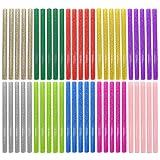 EWPARTSES 50 Barras Silicona Caliente 7mm * 100mm Pegamento termofusible Adhesivos coloreados del Arma del Pegamento Caliente del Arte del Brillo del Paquete (Glitter-50pcs)