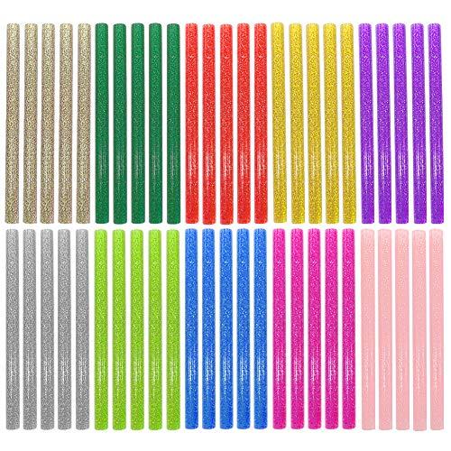 Ewpartsde Glitter Heißklebestifte für Heißklebepistole 10 Farben 50 Stück Heißklebestift Glitter