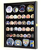 56 Challenge Coin Display Case Cabinet - Fully Adjustable Shelves - Larger Coins - 98% UV Protection (Black Finish)