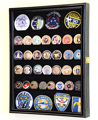 56 Challenge Coin Display Case Cabinet - Fully Adjustable Shelves - Larger Coins - 98% UV Protection (Black Finish)