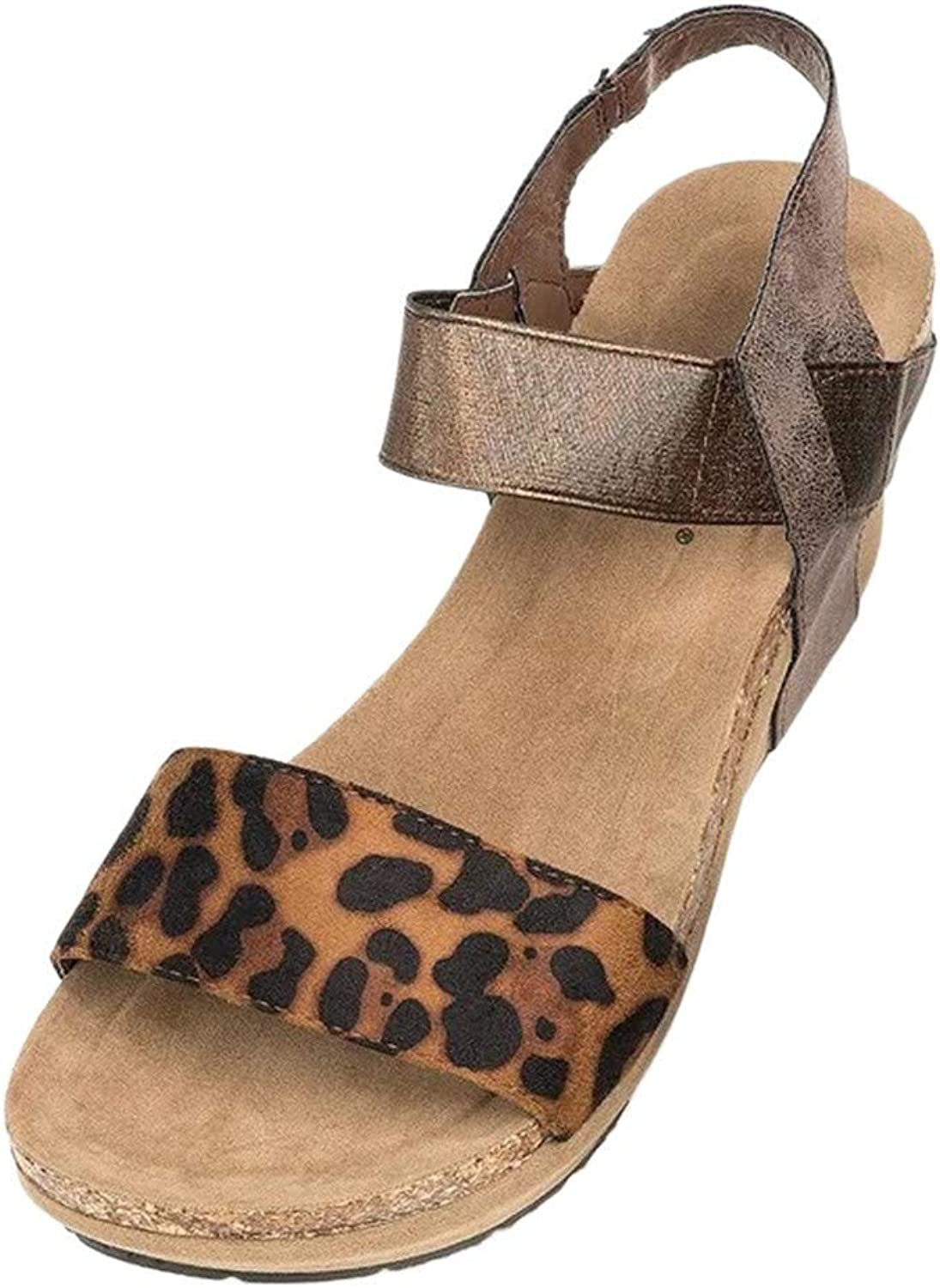 Sandals for Women THENLIAN Platform shoes Leopard Open Toe Strappy Wedge Leather Roman Trendy Sandal(42, Khaki)