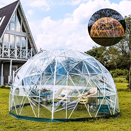 Patiolife Garden Dome 12ft - Geodesic Dome with PVC Cover - Lean to Greenhouse with Door and Windows for Sunbubble, Backyard, Outdoor Winter, Party