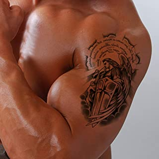 Temporary Tattoo for Men - 7sheets Body Stickers Arm Shoulder Chest Angel Wings Cross Warrior inkbox tattoo