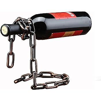 Betan Novelty Magic Wine Bottle Holder Floating Steel Link Chain Wine Bottle Rack/Holder - Holds Bottles in The Air(Bronze)