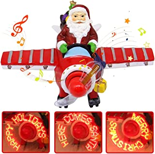 Joliyoou ChristmasCollectible Figurine Santa Musical Airplane, LED Light Up Musical Airplane for Christmas, Christmas Santa Airplane Ornament