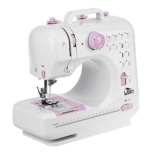 Uten Machine à Coudre Electronique Débutant 12Points Blanc Mini Machine à Coudre Portable Ajustables Multifonction Fil et Vitesse Double
