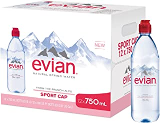 evian Natural Spring Water Individual 750 ml (25.4 oz.) Bottle with Sport Cap Naturally Filtered Spring Water pack of 12, Bottled Naturally Filtered Spring Water in Individual-Sized Bottles