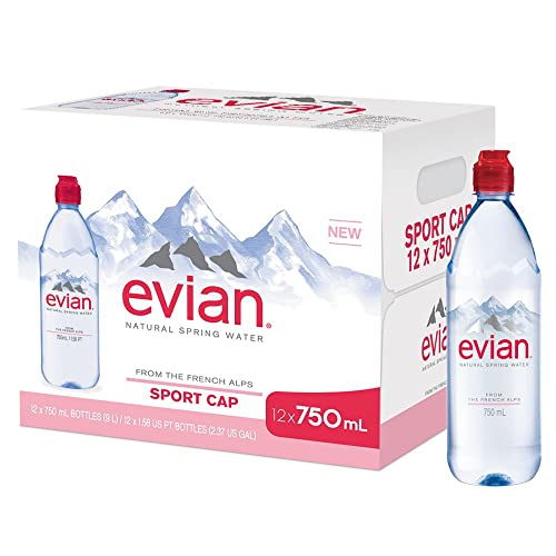 evian Natural Spring Water Individual 750 ml (25.4 oz.) Bottle with Sport Cap Naturally Filtered Spring Water, Bottled Naturally Filtered Spring Water