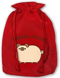 Pugsheen The Dog Christmas Drawstring Bag Gift Bags Santa Sack for Christmas Party Decoration