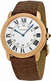 823d8d207f3 Cartier Ronde Solo De Cartier Silver Dial SS Leather Quartz Men s Watch  W6701008