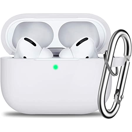 Full Protective Silicone AirPods Skin Cover for Women Men with Apple 2019 Latest AirPods Pro Case Front LED Visible-Midnight Blue AirPods Pro Case Cover with Silver Keychain