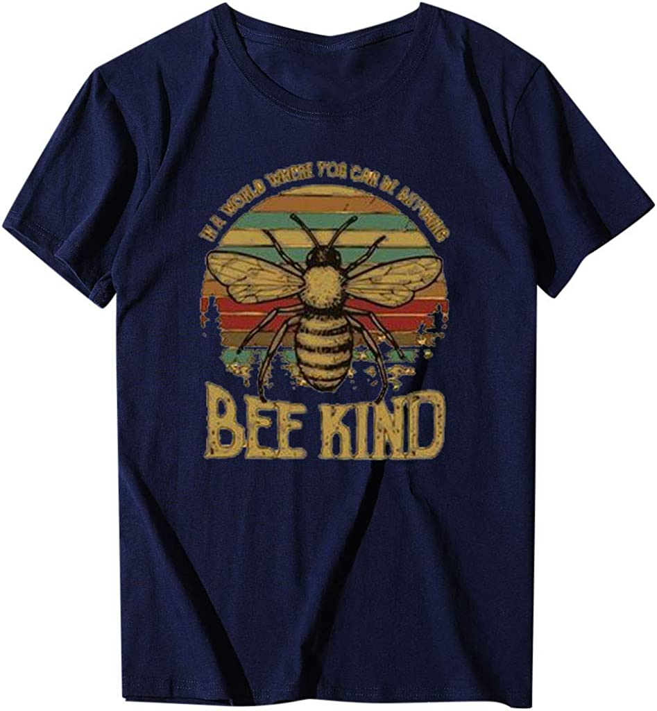 Women's Short Sleeve T-Shirt Casual Bee Letter Printing Crewneck Loose Fashion Sport Summer T-Shirt Blouse Tops