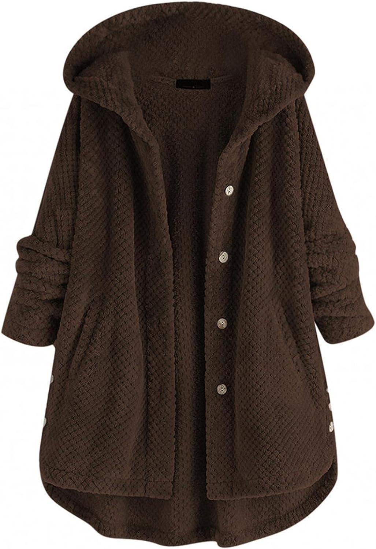 Women's Double-Sided Faux Fleece Jacket Coat Outwear Plus Size Irregular Long Sleeve Button Pocket Hooded Coat Overcoat