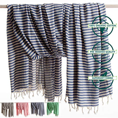 ANATURES Hamamdoek - Plaid XXL HOLIDAY | Premium - Oeko-TEX® - Fairtrade - Bio Katoen - Strandlaken Extra Groot - Plaid - Woondeken - Handdoek - Badlaken - Sauna - Fouta | (Denim Blau, 180 x 240 cm)