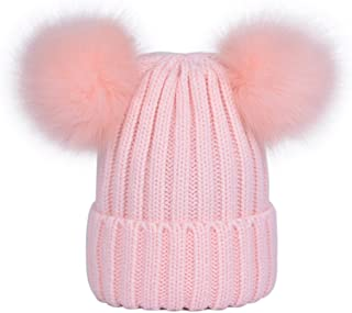 LAUSONS Sombreros para mujer de invierno - Gorros de punto con dos pompones de piel sintética de quita y pon
