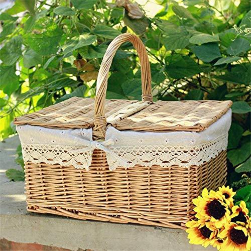 DBWIN Picknickkorb Weidenkorb im Freien Picknickkorb Weidenkorb Handgewebter Weidenkorb Picknickkorb mit Griffen und Trompete mit Baumwollfutter und weißem Futter
