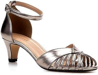 Sandália Shoestock Salto Baixo Metalizada Feminina