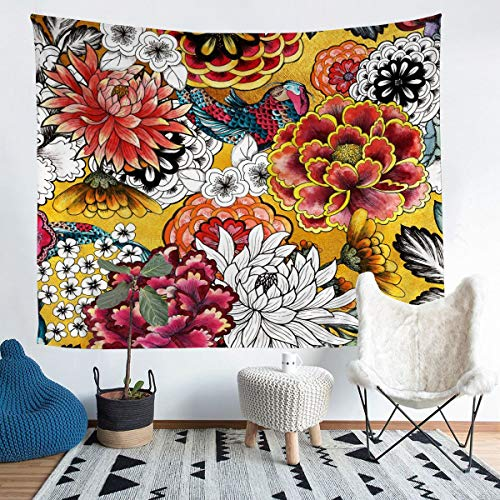 Tapiz de peonías con diseño de crisantemos y dalias, para colgar en la pared para niños y niñas, flores pintadas japonesas, tapiz de pared de lujo para dormitorio, sala de estar, 152 x 224 cm