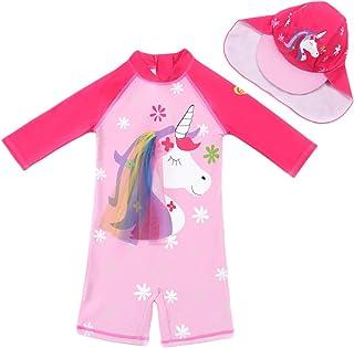 Baby Kids Boys Girls One Pieces Short Sleeve Uv Rash Guard Swimwear Sun Protective Swimsuit Diving Suits+UV Sun Hat