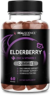 Real Science Elderberry Gummies with Zinc and Vitamin C to Support Immune System, 60 Gummies
