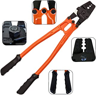 14'' Wire Rope Crimping Tool for 1/16, 5/64, 3/32, 7/64, 1/8 inch Steel, Copper & Aluminum Oval Sleeves, Single & Loop Sleeves, Stop Sleeves, Wire Rope Crimp Ferrules, Railing End Fitting Terminals
