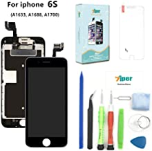 Screen Replacement Compatible iPhone 6S (4.7 inch) - LCD Display Touch Digitizer Assembly Set Proximity Sensor, Front Camera, Earpiece, Tempered Glass, Repair Tools Instruction (Black)