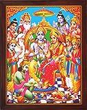 Sita Ram y Hanuman sentado en Palacio y otros hindú religiosa dios que bendición, una Santa religiosa Póster pintura con marco para hindú religiousd y propósito de regalo