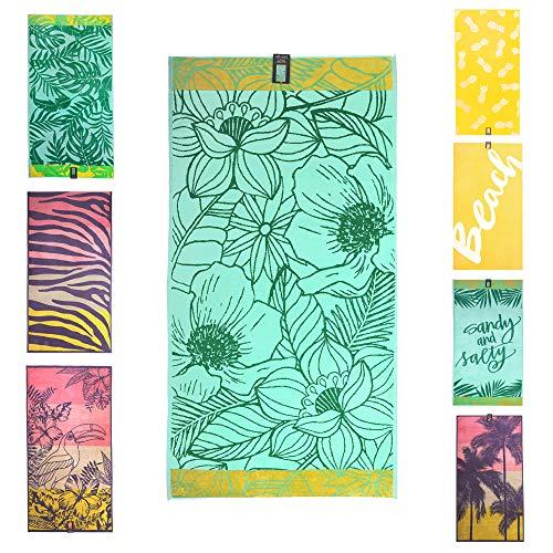 jilda-tex Strandtuch 90x180 cm Badetuch Strandlaken Handtuch 100% Bio-Baumwolle Velours Frottier Pflegeleicht (Bali)