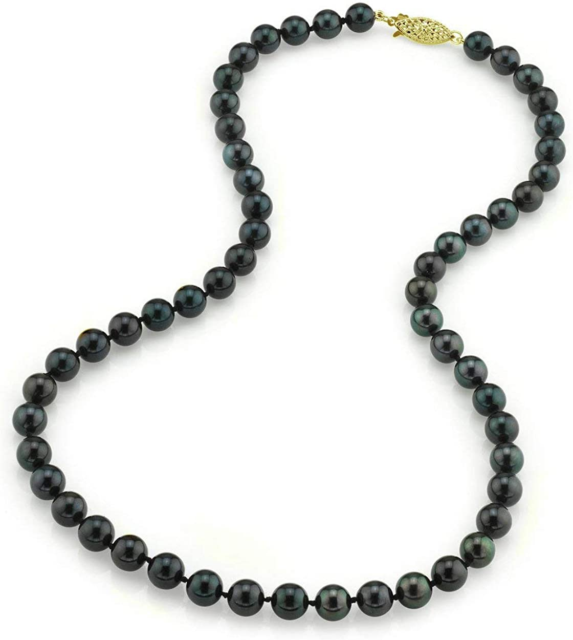THE PEARL SOURCE Ranking TOP15 14K Gold Genuine 7.0-7.5mm San Francisco Mall Round Japanese Black