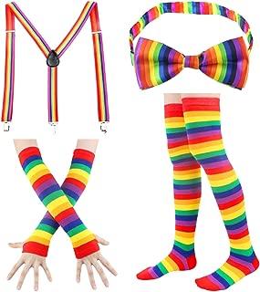 Stripe High Socks - Womens Knee High Socks Fingerless Gloves Accessories Set Colorful Rainbow Arm Warmers Halloween