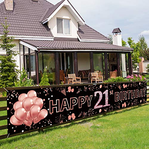 Pimvimcim 21st Birthday Banner Decorations for Women - Rose Gold Large Happy 21st Birthday Party Sign - 21 Years Old Birthday Photo Booth Backdrop Supplies (9.8x1.6ft)