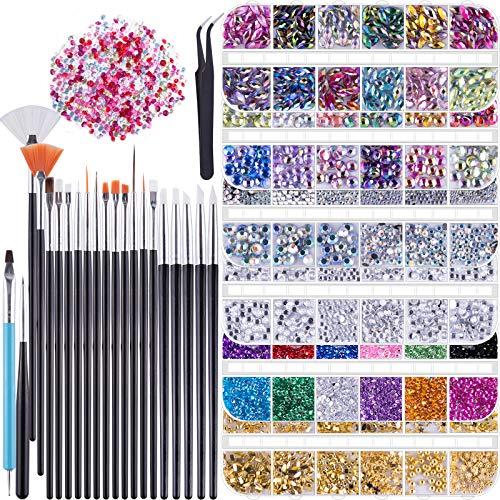 Duufin 6 Cajas Kit de Accesorios Decoración Uñas Nail Art Pedrería Diamantes de Imitacion para uñas 15 Piezas Pinceles para Uñas 1 Pieza Pinza 5 Piezas Plumas de Uñas para Decoración de Arte de Uñas