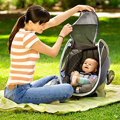 Munchkin Brica Infant Comfort Canopy Car Seat Cover, Helps Block UVA/UVB Rays, Grey