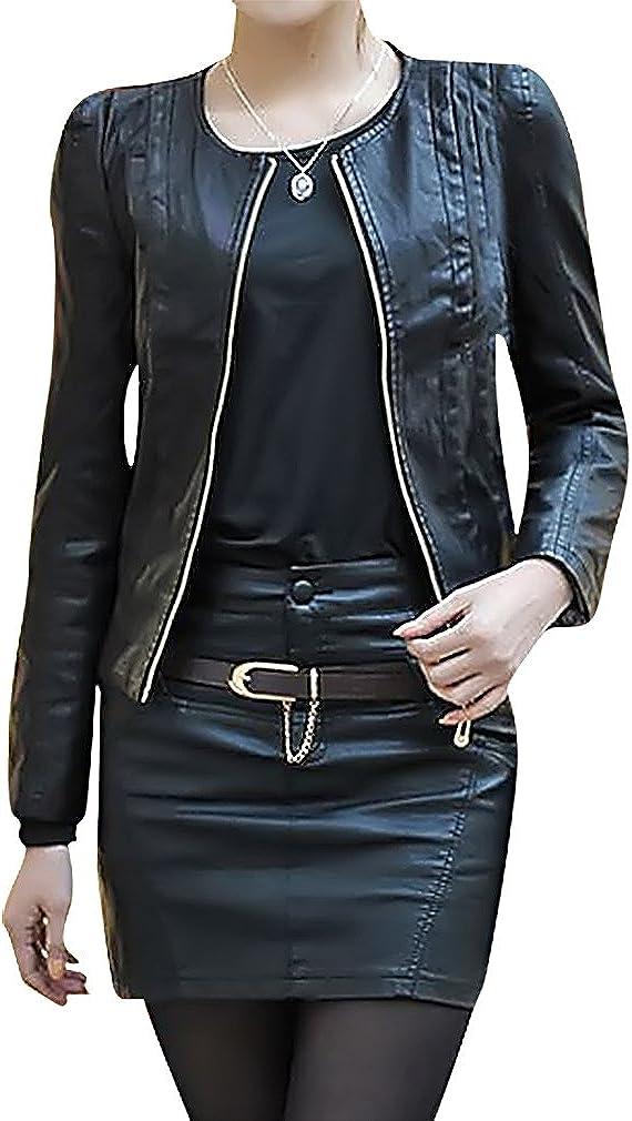 USR Nashville-Davidson Mall Women's O Neck Same day shipping Zipped Slim Motorcycle Jacket PU Leather Fit