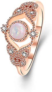 Yazilind Frauen Ringe Rose Gold Farbe Eingelegte Schmetterlingsform Opal Für Engagement Schmuck