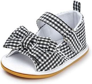 Meckior Baby Girls Premium Soft Rubber Sole Anti-Slip Summer Shoes Infant Baby Prewalker Toddler Sandals. (12cm(6-12months...
