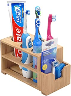 MobileVision Toothbrush & Toothpaste Holder w/Wider Slots for Electric Toothbrushes Plus Floss Holder for Bathroom Vanity Storage Bamboo, 5 Slots