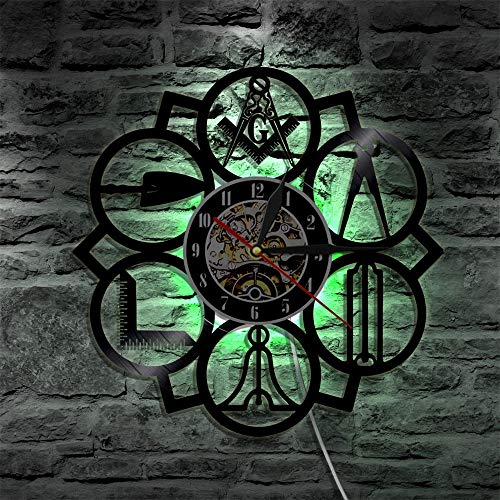 Masonic Free Mason Logo Vinyl Record Wall Clock Vintage 3D Handmade Home Decor Clock Wall Art LED lights