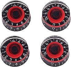 Healifty 4 stks Acryl Effect Pedaal Controle Versterker Knoppen voor Elektrische Gitaar Bas (Zwart en Rood)