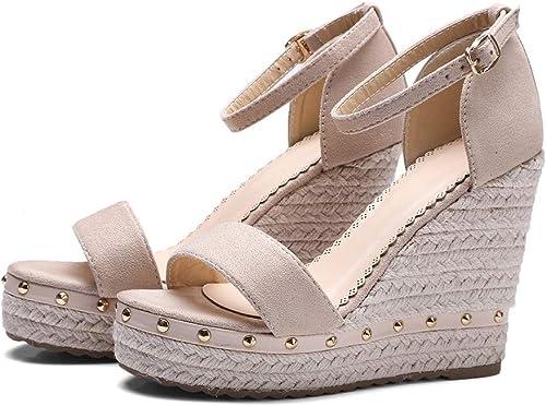 Chengxin Sandales Sandales d'été pour Femmes Sandales en Herbe à enrouleHommest compensé Sandales à Semelle compensée Mode Boucle de Poisson Chaussures (Couleur   blanc, Taille   36EU)