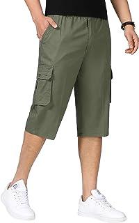 YSENTO Men's Cargo Shorts Below Knee Casual Work Capri Pants