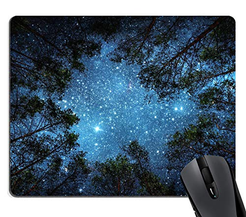 Wknoon Navy Blue Night Sky Bright Glitter Stars Gaming Mouse Pad Custom, The Milky Way and Green Trees Sublime Forest Skyward Nature View Rectangle Mouse Pads