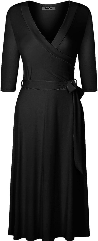 BodiLove Women's 3/4 Sleeve V-Neck Solid Knee Length Wrap Dress