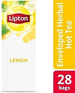 Lipton Lemon Enveloped Hot Tea Bags Herbal Caffeine Free, 28 count, Pack of 6
