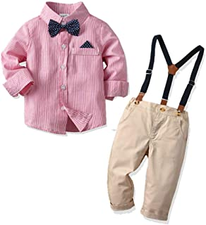 Baby Boys Long Sleeve Gentleman Outfit Suits Set,Infant Shirt+Bib Pants+Bow Tie +Suspender