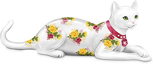 The Hamilton Collection Rose-Patterned Cat Figurine: Blooming Purr-Fection Figurine